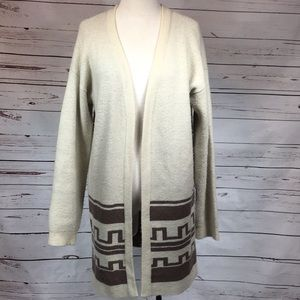 Forever 21 Long cream and brown cardigan